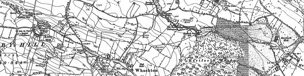 Old map of Whashton in 1892