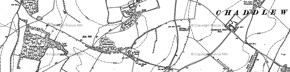 Old map of Whatcombe in 1898