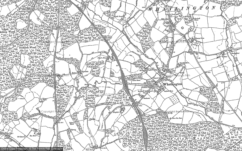 Old Map of Historic Map covering Woodmans Green in 1897
