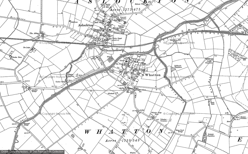Map of Whatton-in-the-Vale, 1883 - 1899