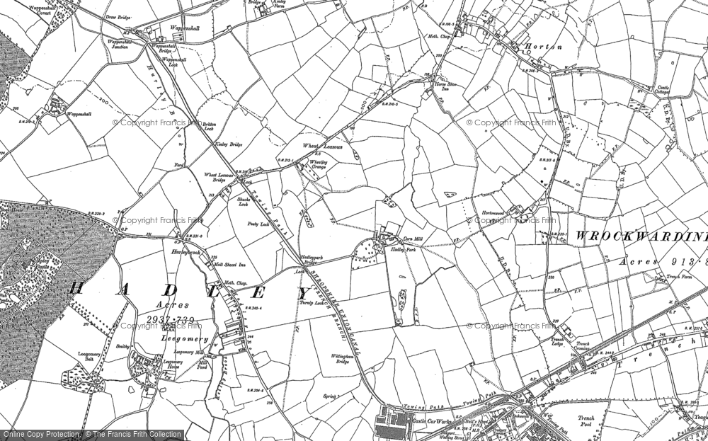 Old Map of Wheat Leasows, 1881 in 1881