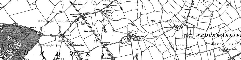 Old map of Wheat Leasows in 1881