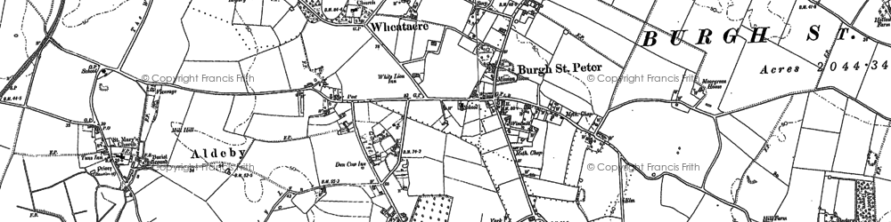 Old map of Wheatacre Marshes in 1884
