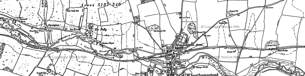 Old map of Wheathampstead in 1897