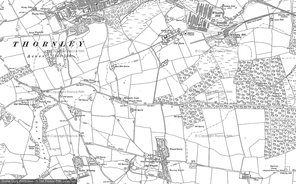 Old Map of Wheatley Hill, 1896 in 1896