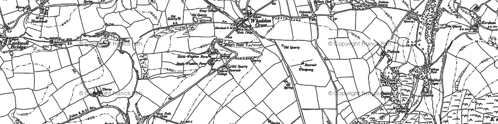 Old map of Wheddon Cross in 1887