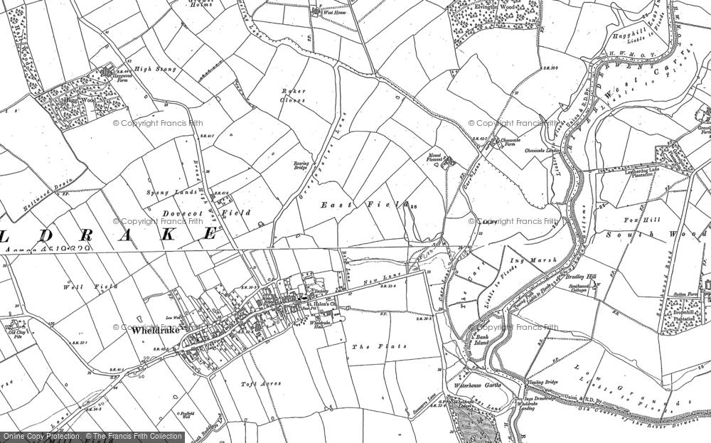 Old Map of Historic Map covering Wheldrake Grange in 1890