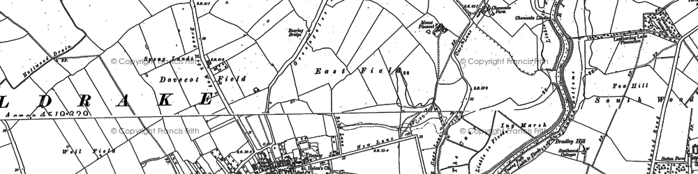 Old map of Wheldrake Grange in 1890