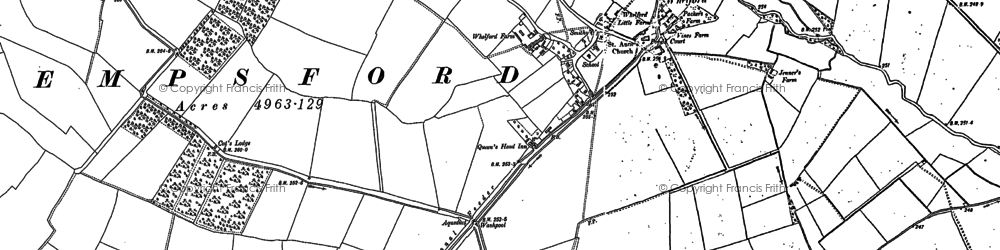Old map of Whelford in 1876