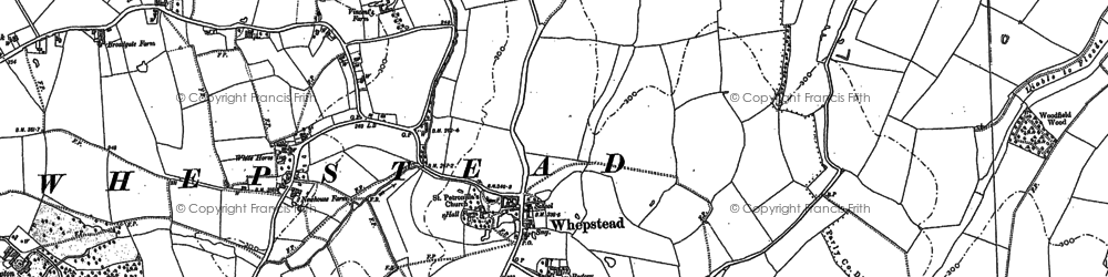 Old map of Whepstead in 1884