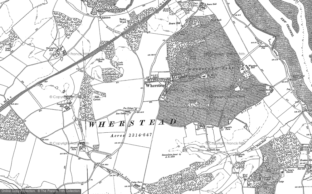 Old Map of Historic Map covering Wherstead Park in 1881
