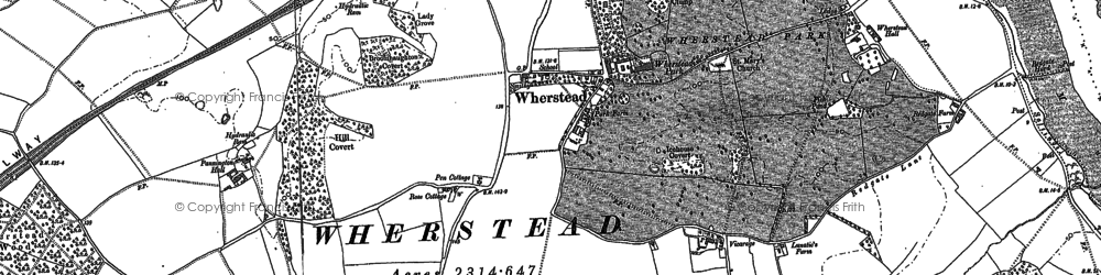 Old map of Wherstead in 1881