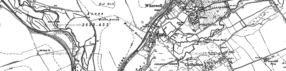 Old map of Wherwell in 1894