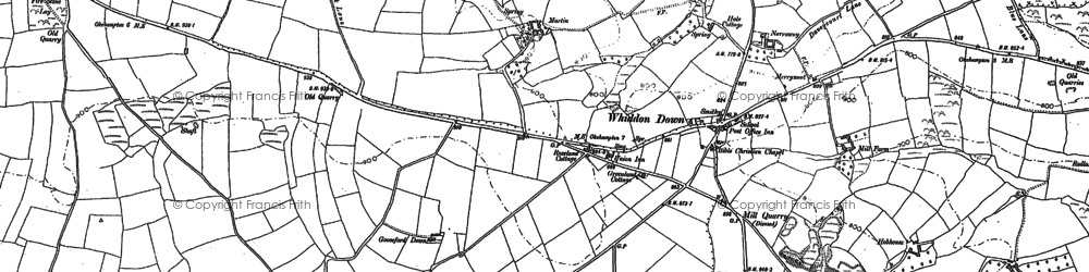 Old map of Whiddon Down in 1884