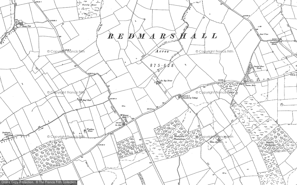 Old Map of Whinny Hill, 1914 in 1914