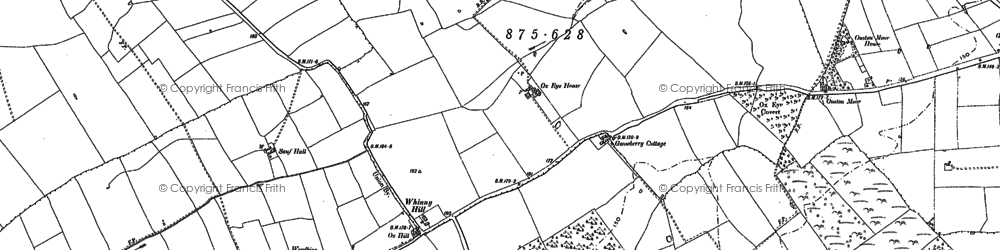 Old map of Whinny Hill in 1914