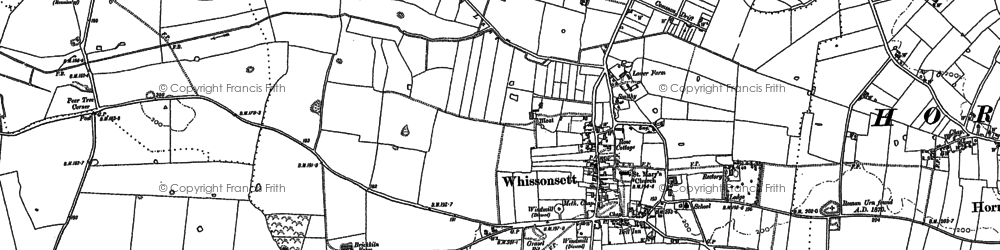 Old map of Whissonsett in 1885