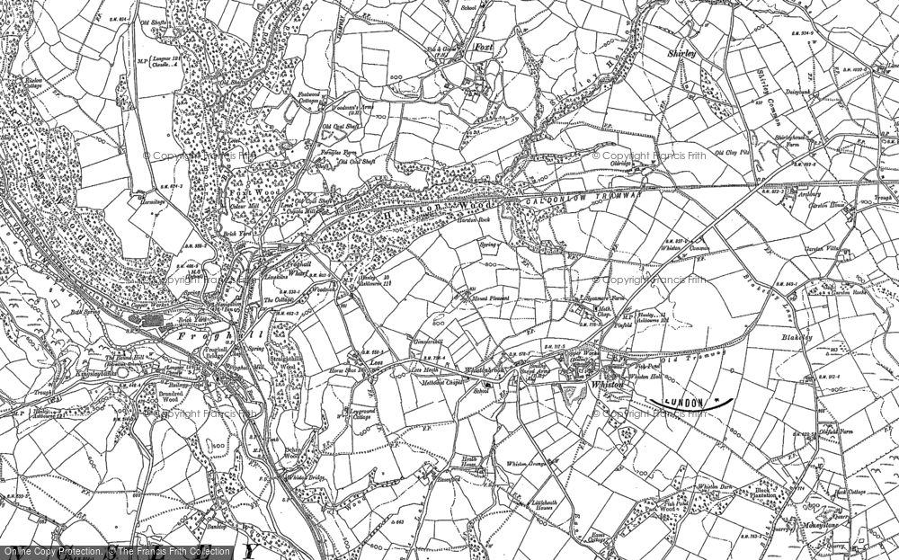 Old Map of Historic Map covering Leys in 1880