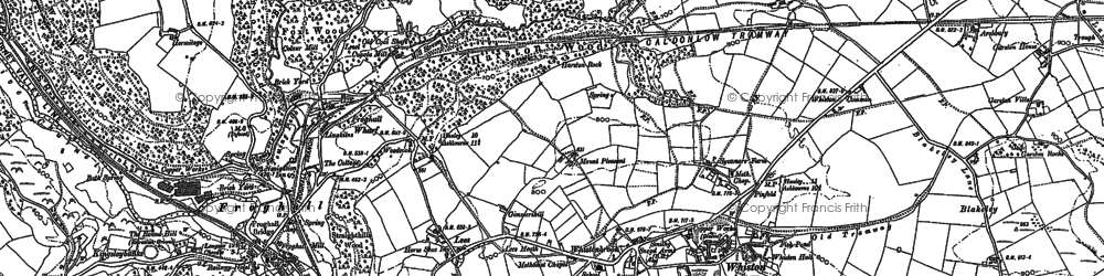 Old map of Whiston in 1880