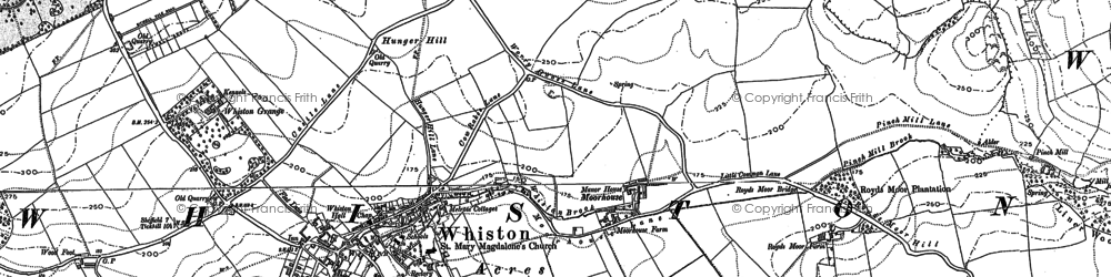 Old map of Whiston in 1891