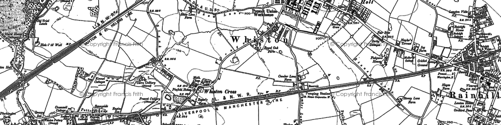 Old map of Whiston Cross in 1891