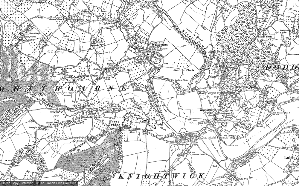 Old Map of Historic Map covering Whitbourne Hall in 1884