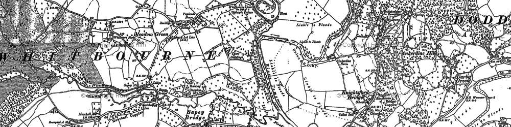 Old map of Whitbourne in 1884