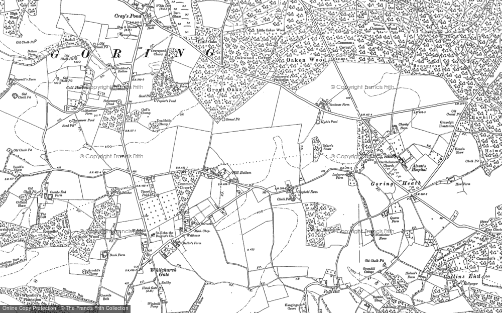 Old Map of Whitchurch Hill, 1910 in 1910