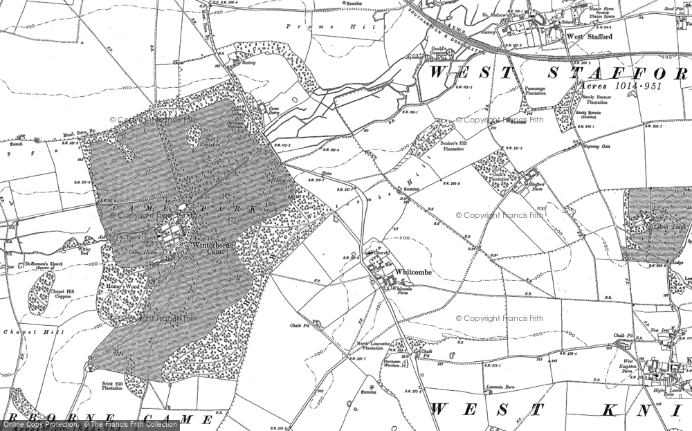 Old Map of Whitcombe, 1886 in 1886