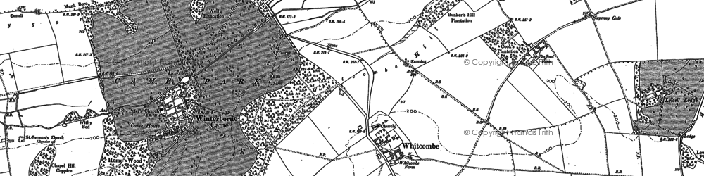 Old map of Whitcombe Barn in 1886