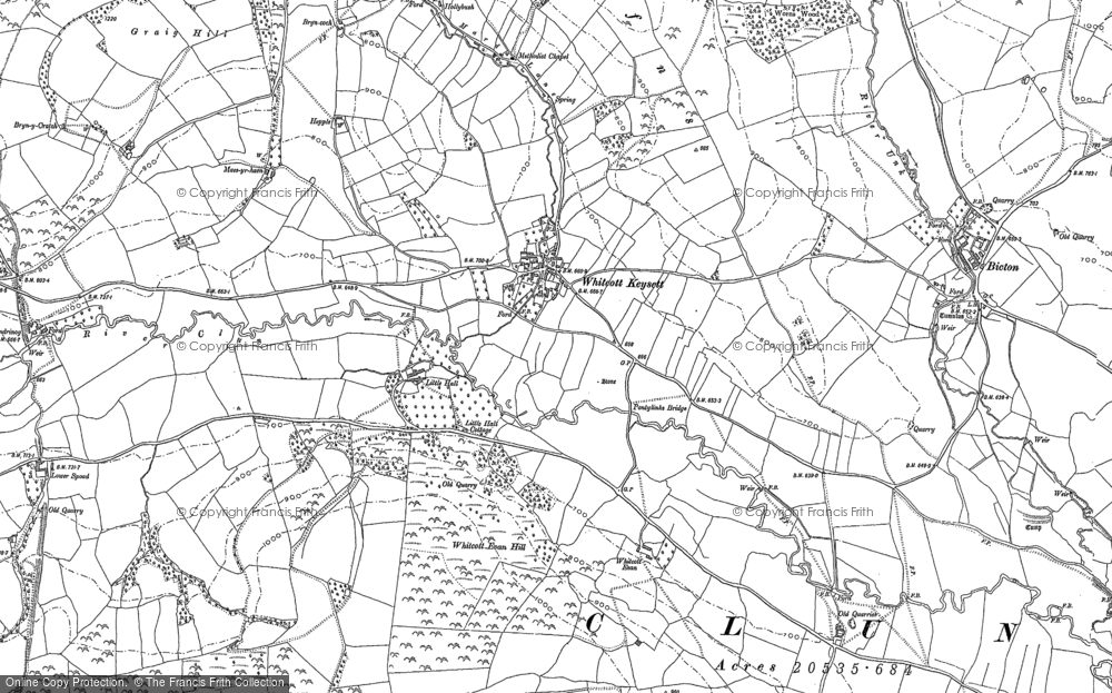 Old Map of Whitcott Keysett, 1883 in 1883