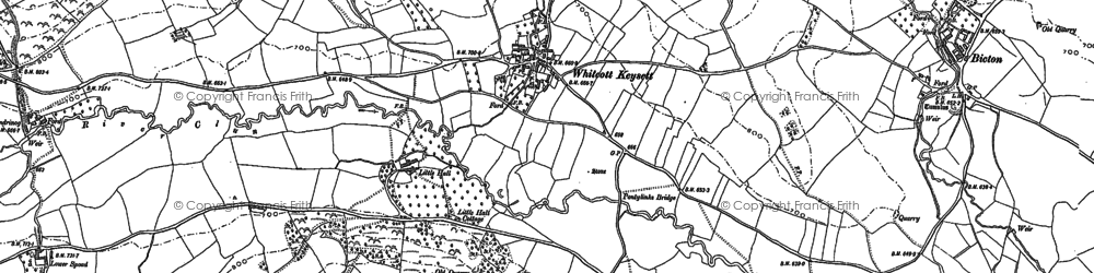 Old map of Whitcott Keysett in 1883