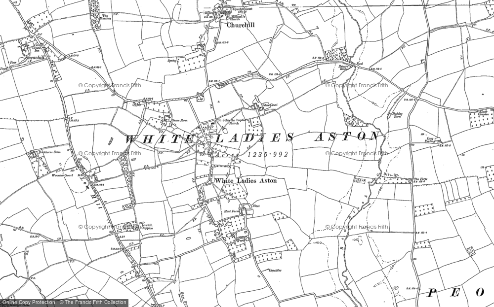 Old Map of White Ladies Aston, 1884 in 1884