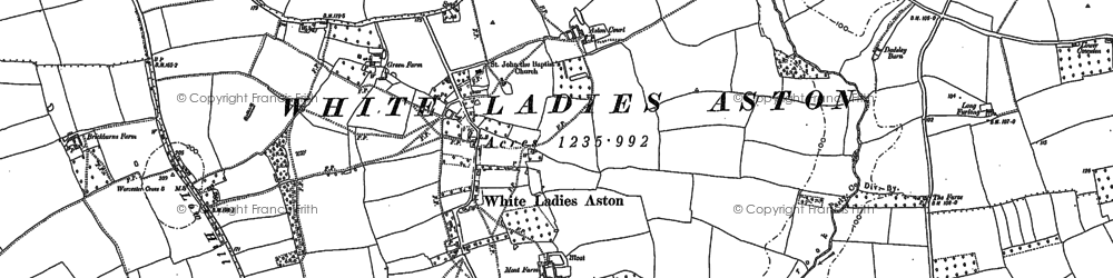 Old map of White Ladies Aston in 1884