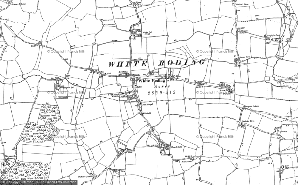 Old Map of White Roding, 1895 in 1895