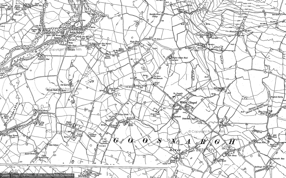 Old Map of Historic Map covering Banister Hey in 1910