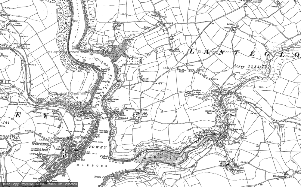 Old Map of Historic Map covering Lanteglos Highway in 1906