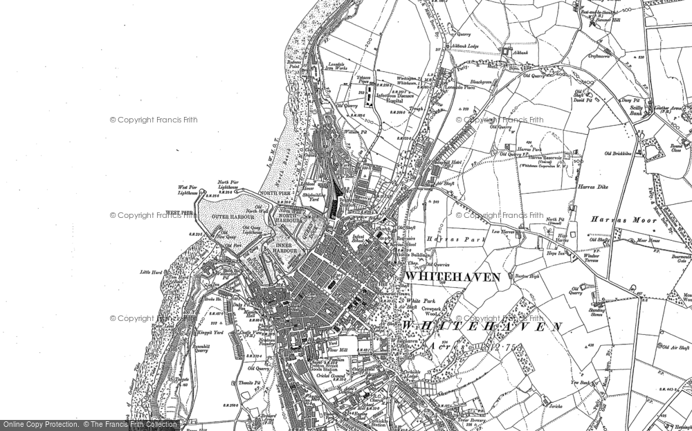Old Map of Whitehaven, 1923 in 1923