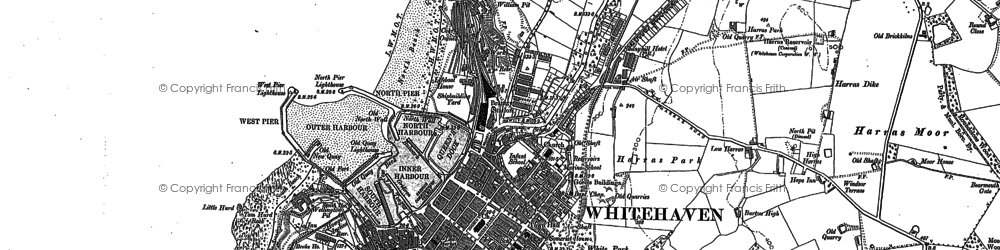 Old map of Whitehaven in 1923