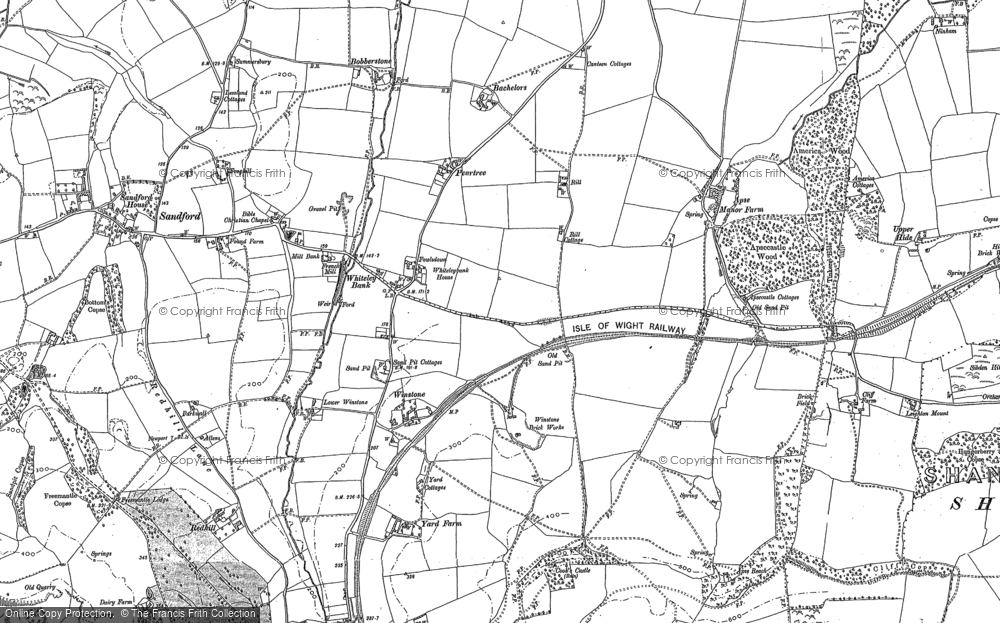 Old Map of Whiteley Bank, 1907 in 1907