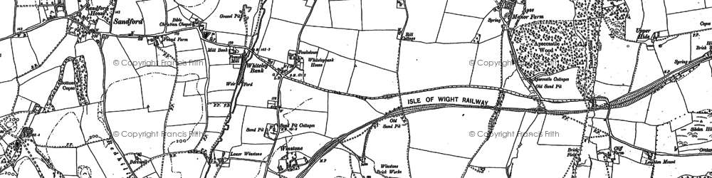 Old map of Whiteley Bank in 1907