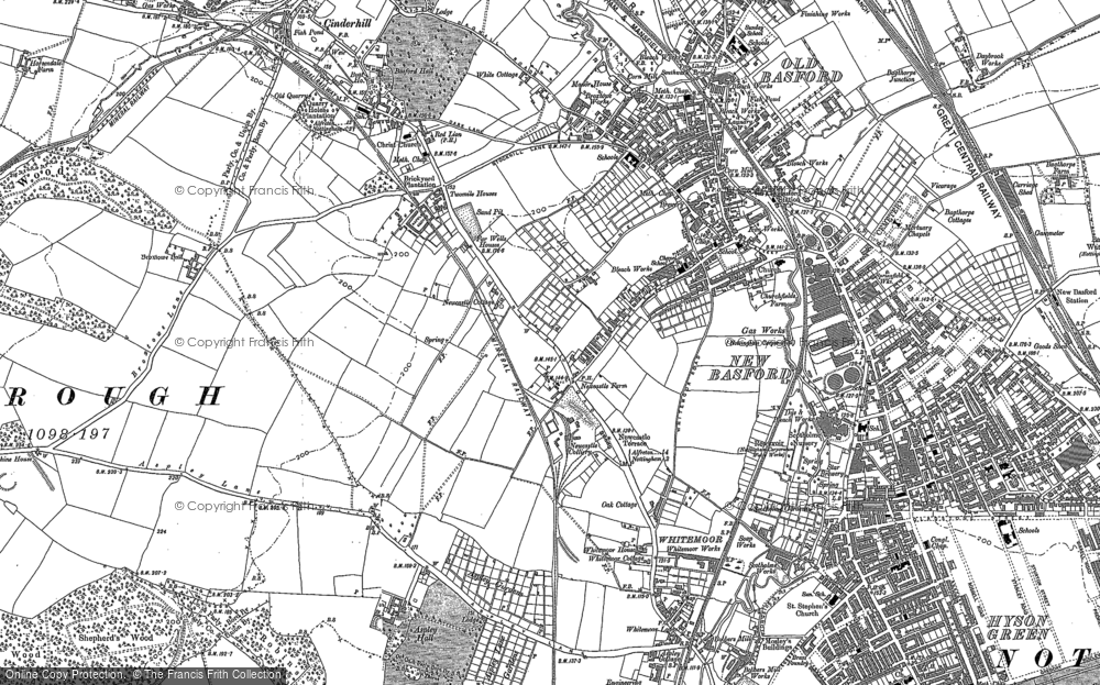 Old Map of Historic Map covering Aspley in 1881