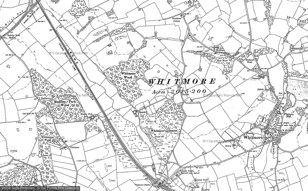 Old Map of Historic Map covering Whitmore Wood in 1879