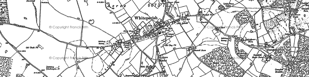Old map of Whiteparish in 1908