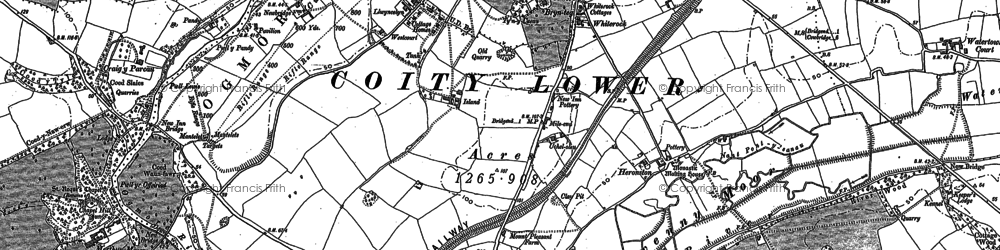 Old map of Whiterock in 1914