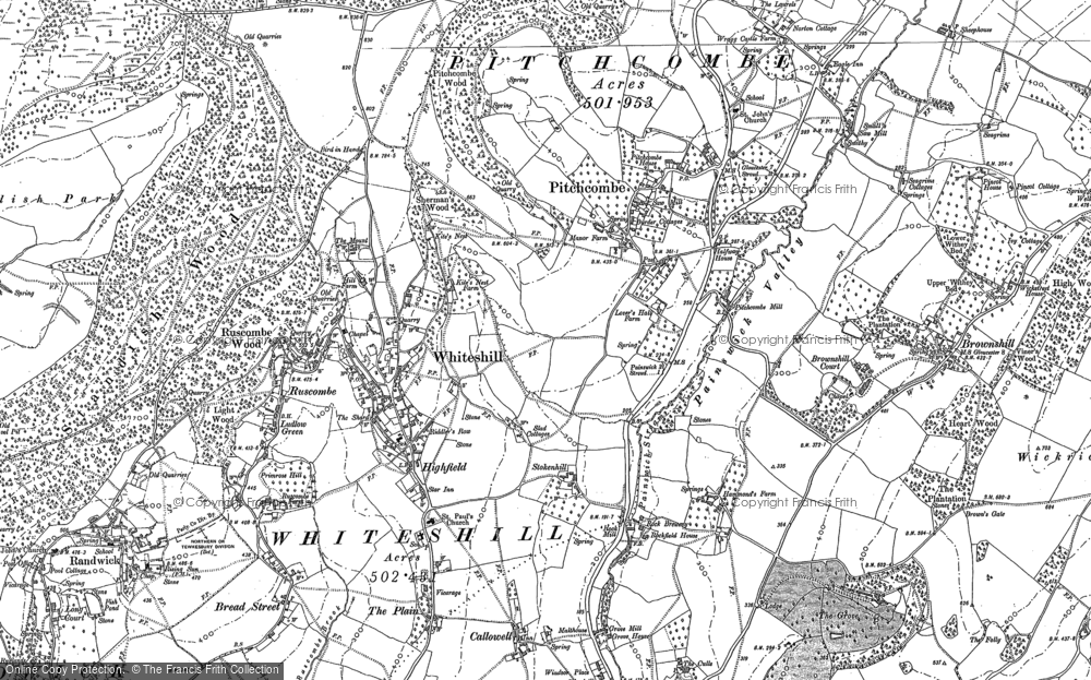 Old Map of Whiteshill, 1882 in 1882