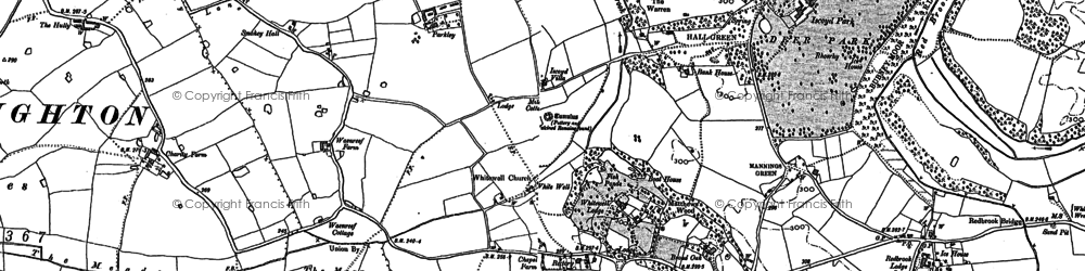 Old map of Whitewell in 1909