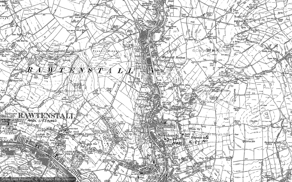 Old Map of Whitewell Bottom, 1891 - 1893 in 1891