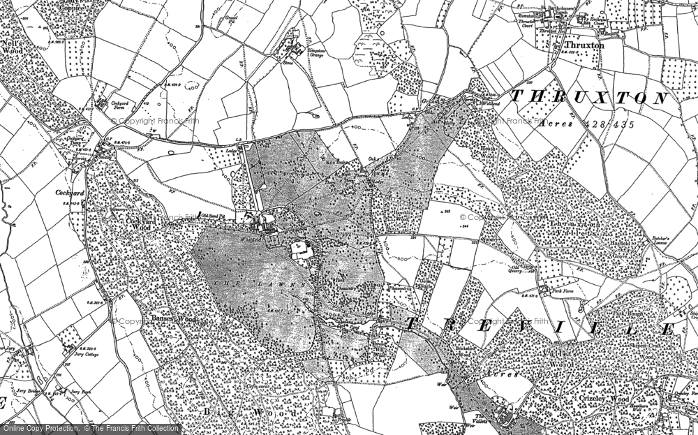 Old Map of Historic Map covering Banses Wood in 1886
