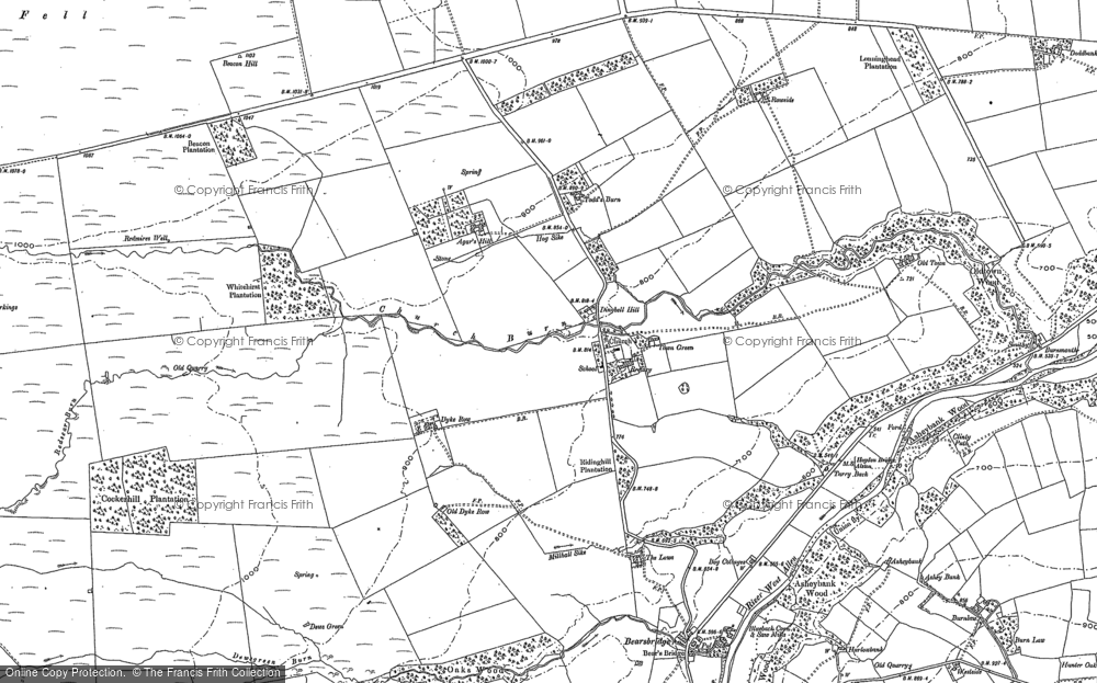 Old Map of Historic Map covering Agarshill Fell in 1895